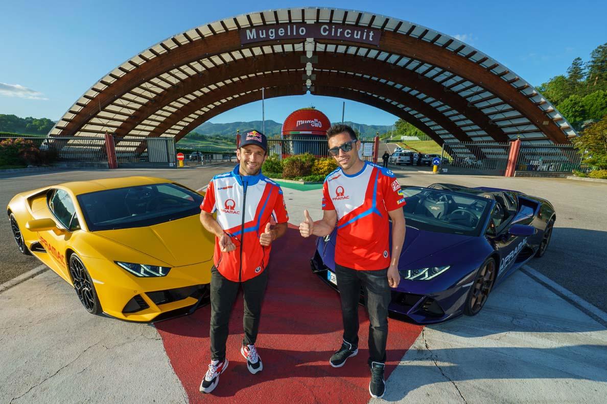 Zarco and Pirro of Pramac Ducati train with the Lamborghini Squadra Corse drivers at the Drivers Lab in Sant'Agata Bolognese